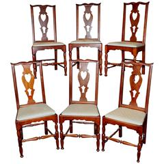 Set of Six 18th Century Cherry Side Chairs probably Hartford, Connecticut
