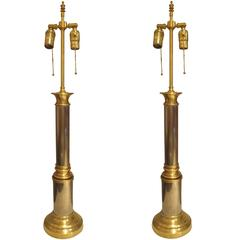 Pair of Brass and Chrome Column Lamps