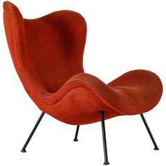 Fritz Neth 'Madame' red wingback lounge chair, Germany, 1950s