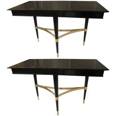 Pair of Sculptural Ebonized Consoles on Tripod Base with Bronze Stretchers