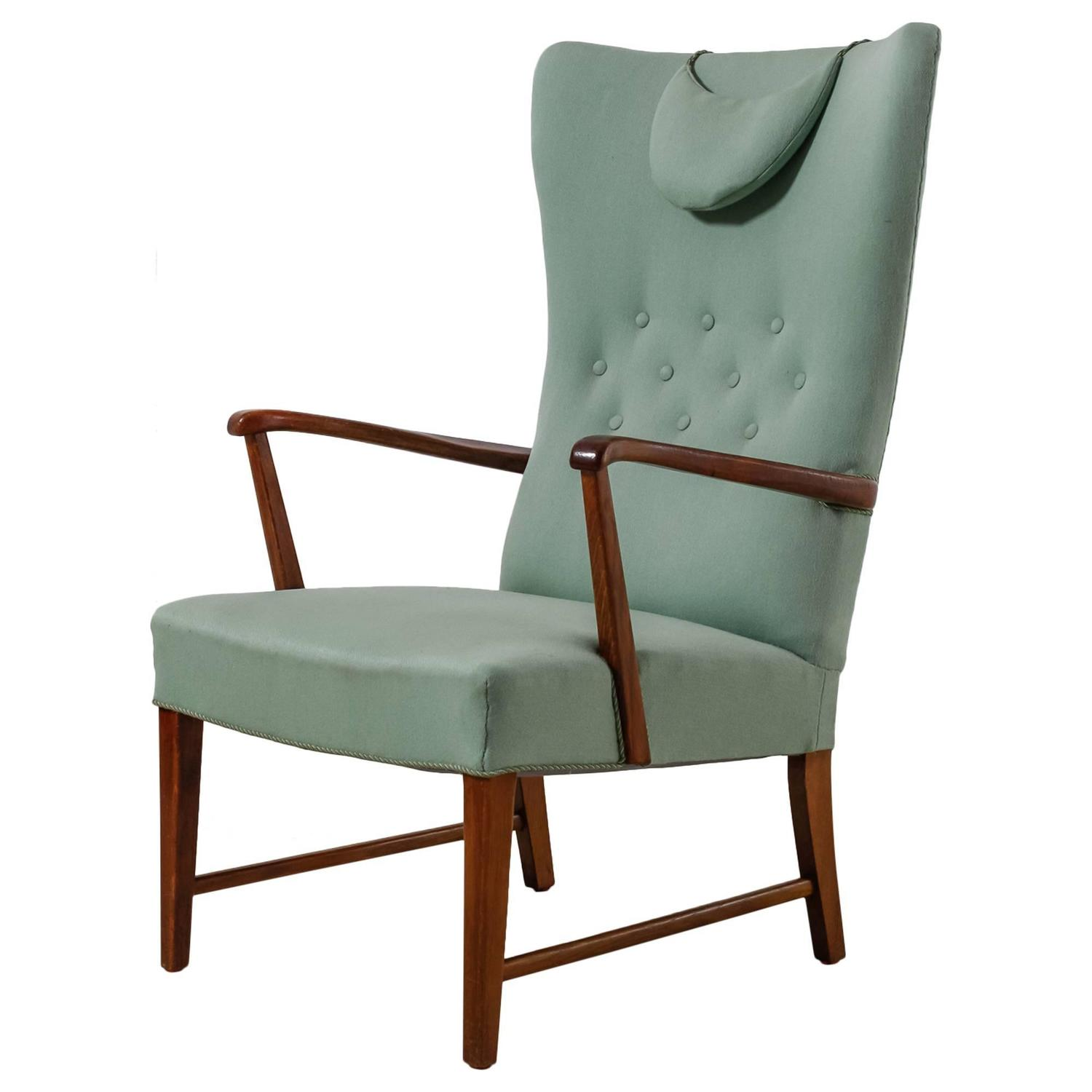 Danish High Back Lounge Chair with Mint Green Wool Upholstery