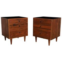 1950s Pair of Paul McCobb Black Walnut Low Nightstands with Black Micarta Top
