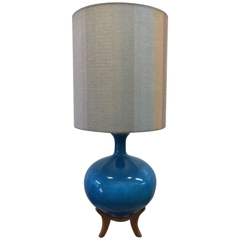 Large Ceramic Lamp with Teak Base