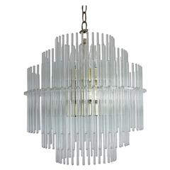 Sciolari Lucite and Glass Rod Chandelier for Lightolier