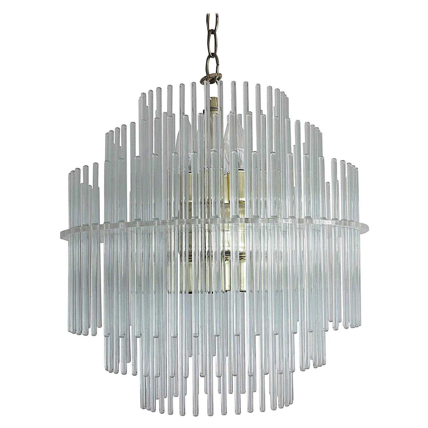 Small Chandelier with Glass Rods in Different Sizes and Colors at