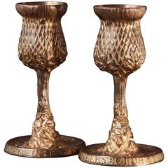 Thistle Goblets, Rare Gilded Bronze Pieces by Louis Comfort Tiffany, 1907