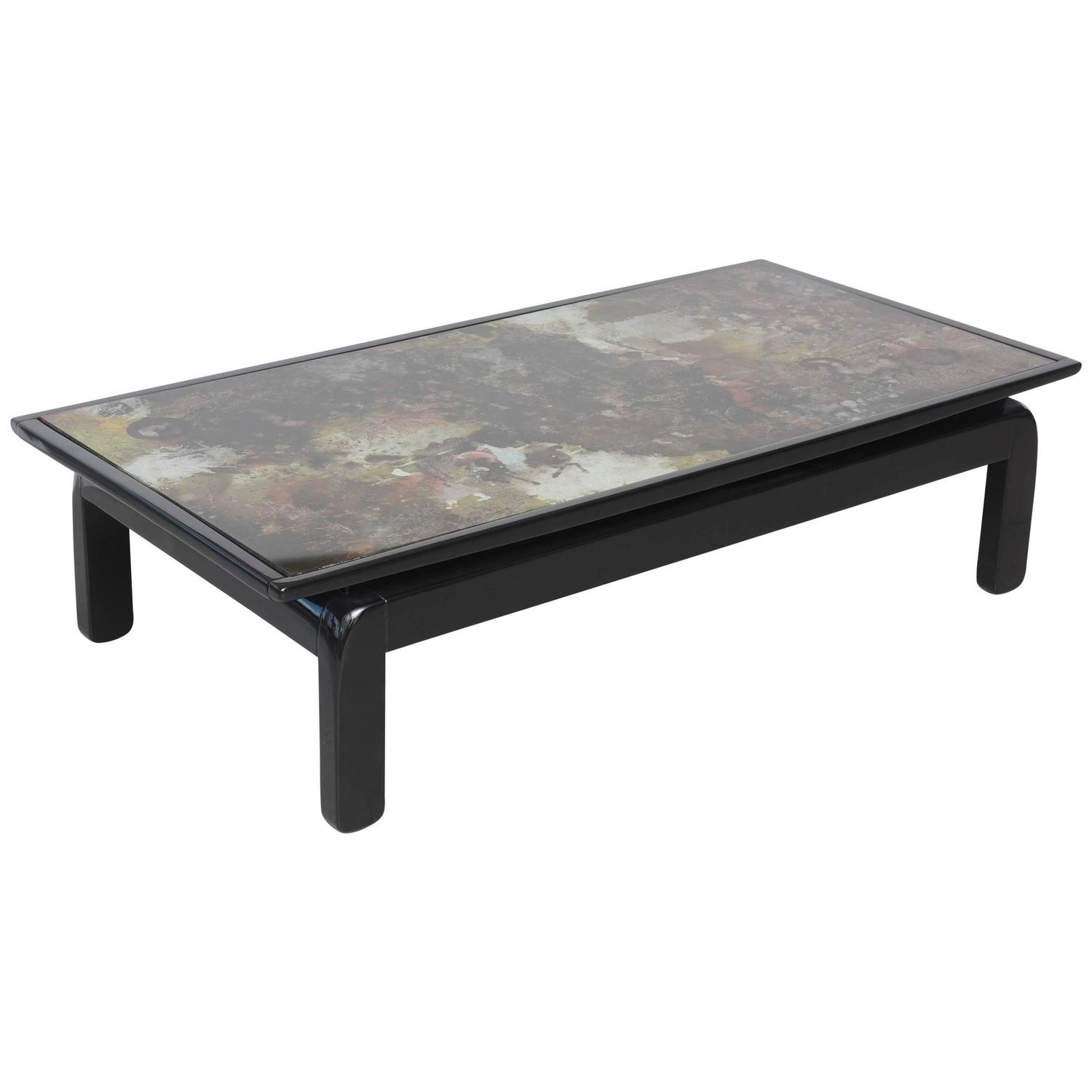 reverse painted glass top cocktail table at 1stdibs