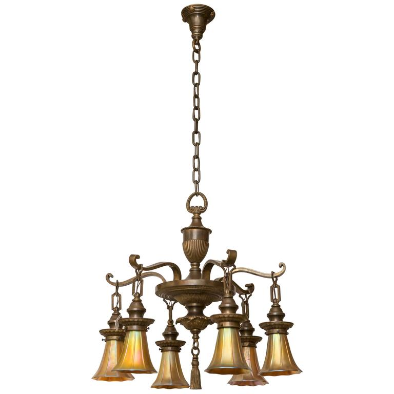 Six-Arm Bronze Edwardian Chandelier with Art Glass Shades