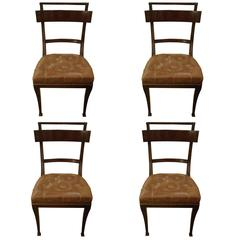 Set of Four Klismos Style Mahogany and Leather Dining Chairs
