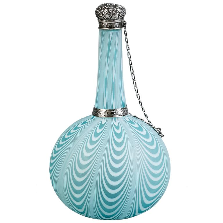 English Silver-Mounted Swirled Glass Perfume Bottle  For Sale