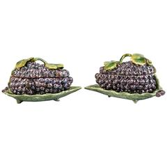 Pair of Dutch Delft Grape Boxes on Leaf Stands, circa 1750