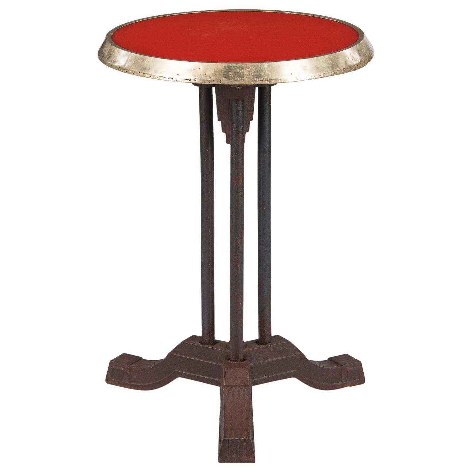 french art deco bistro table with red bakelite top 1930s at 1stdibs. Black Bedroom Furniture Sets. Home Design Ideas