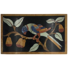 Italian Pietre Dure Panel of Parrot on Branch, Late 17th Century