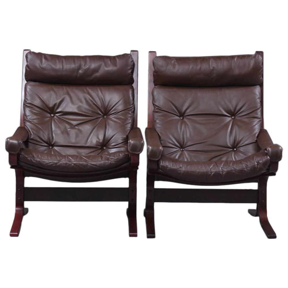 Pair Of Ingmar Relling Siesta Leather High Back Lounge Chairs At 1stdibs