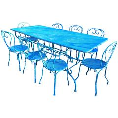 French Blue Wrought Iron Dining Suite for Eight