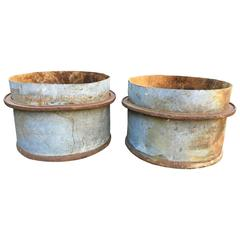 Six Pairs of French Industrial Iron Planter Tubs