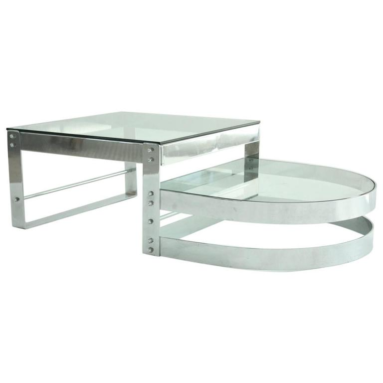 Modern Chrome and Glass Coffee Table Attributed to Willy Rizzo, circa 1970 1