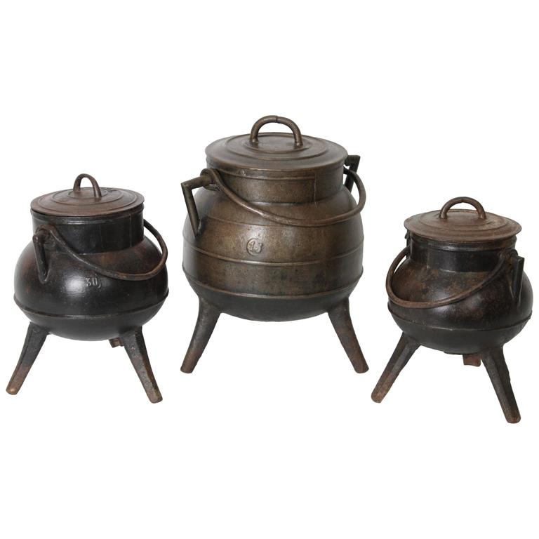 Set of Three Spanish Cast Iron Pots or Cauldrons