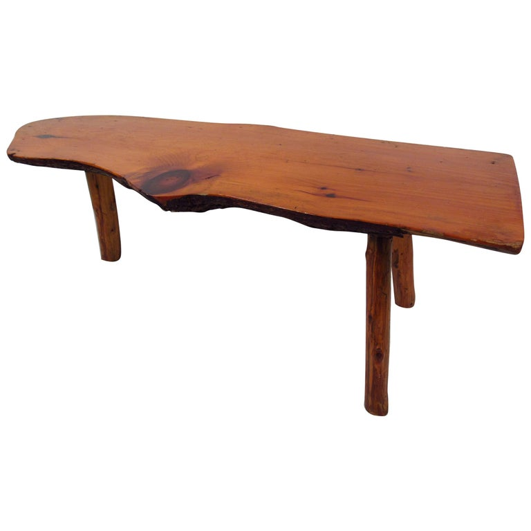 Vintage Rustic Tree Trunk Coffee Table For Sale