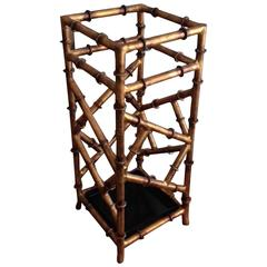 Gilt Metal Umbrella Stand in the Style of Maison Bauges