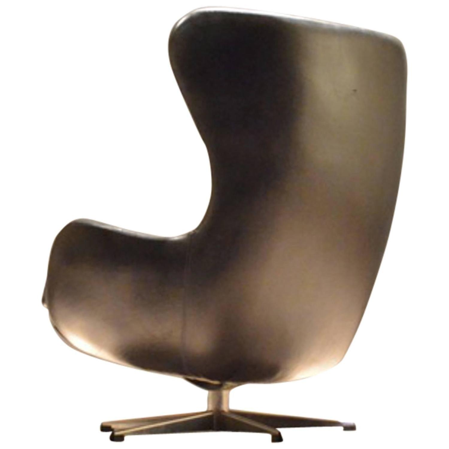 Danish Black Leather Egg Shaped Cocoon Easy Chair At 1stdibs