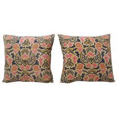 Pair of Floral Asian Batik Printed Decorative Pillows