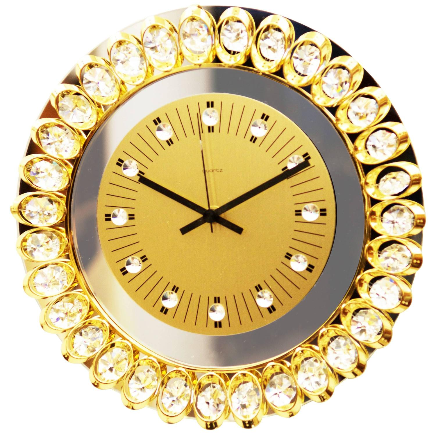 Crystal Mirror Wall Clock at 1stdibs