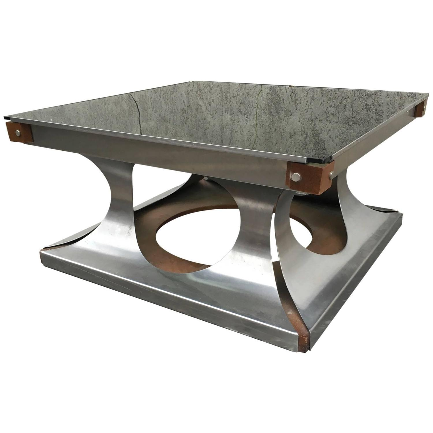 Maison Jansen 1970s Brushed Steel And Wood Square Coffee Table At 1stdibs
