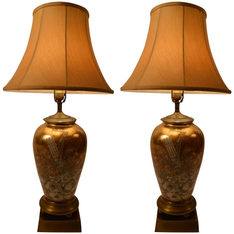 Pair of Eglomise Table Lamps