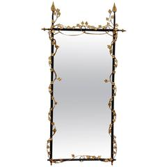Large Iron and Gilded Brass Neoclassical Style Pier Mirror