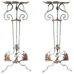 Pair of Florentine Polychromed  Wrought Iron Pedestals