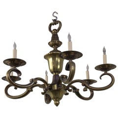 French Bronze Six Armed Chandelier