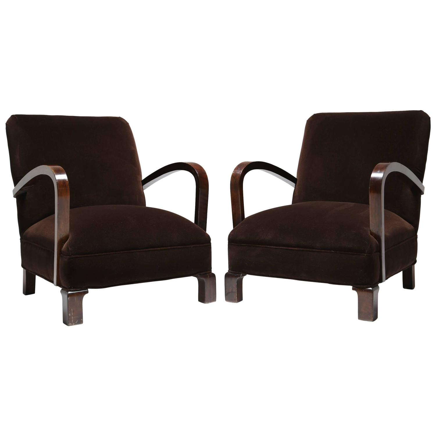 french art deco club chairs pair for sale at 1stdibs