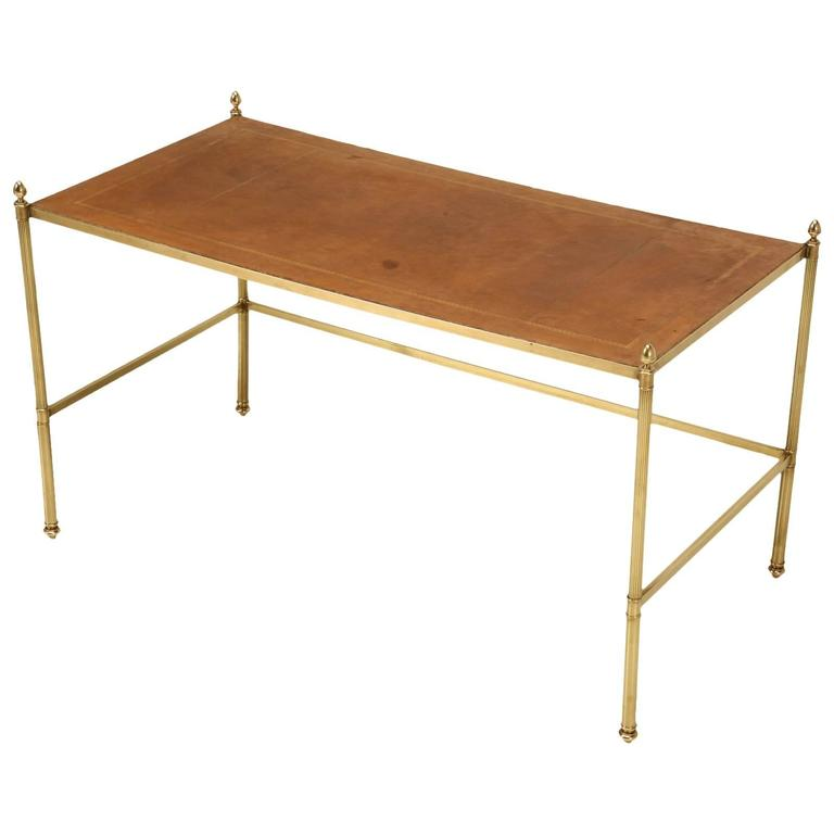 Vintage French Leather And Brass Coffee Table At 1stdibs