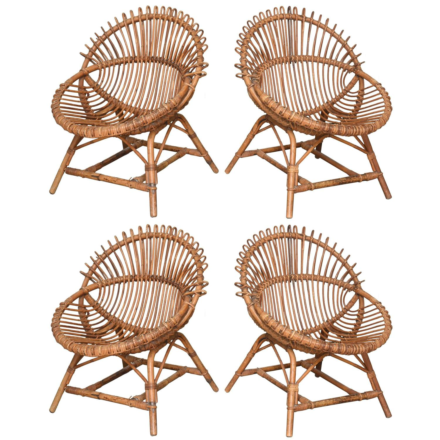 Two Pairs of Vintage French Bamboo and Rattan Chairs at 1stdibs
