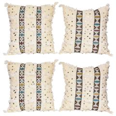 Two Pairs of White Morrocan Pillows