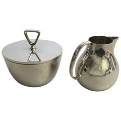 Georg Jensen Sterling Silver Sigvard Bernadotte Creamer and Sugar Bowl #1015