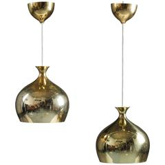 Pair of Rare Pendants in Perforated Brass by Helge Zimdal