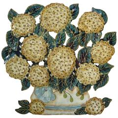Decorative Tôle Peinte Hydrangea Bouquet, France, circa 1920s