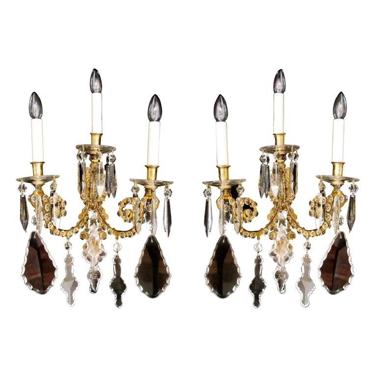 Cut Glass Wall Lights : Large Pair of Cut Glass Three-Arm Wall Lights For Sale at 1stdibs