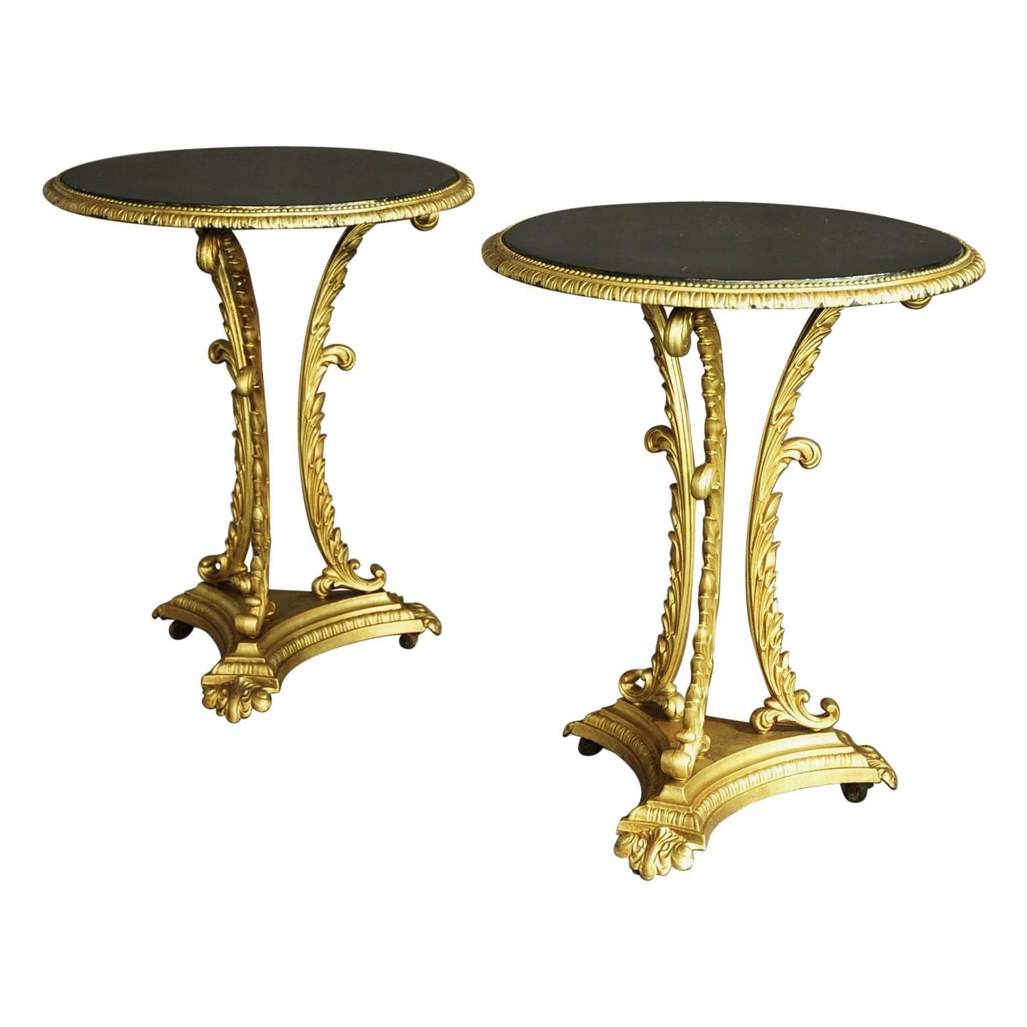 Pair Of French Highly Decorative Painted Cast Iron Tables At 1stdibs