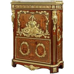 Rare French Marquetry and Gilt Bronze Secretaire with Architecture Scenes