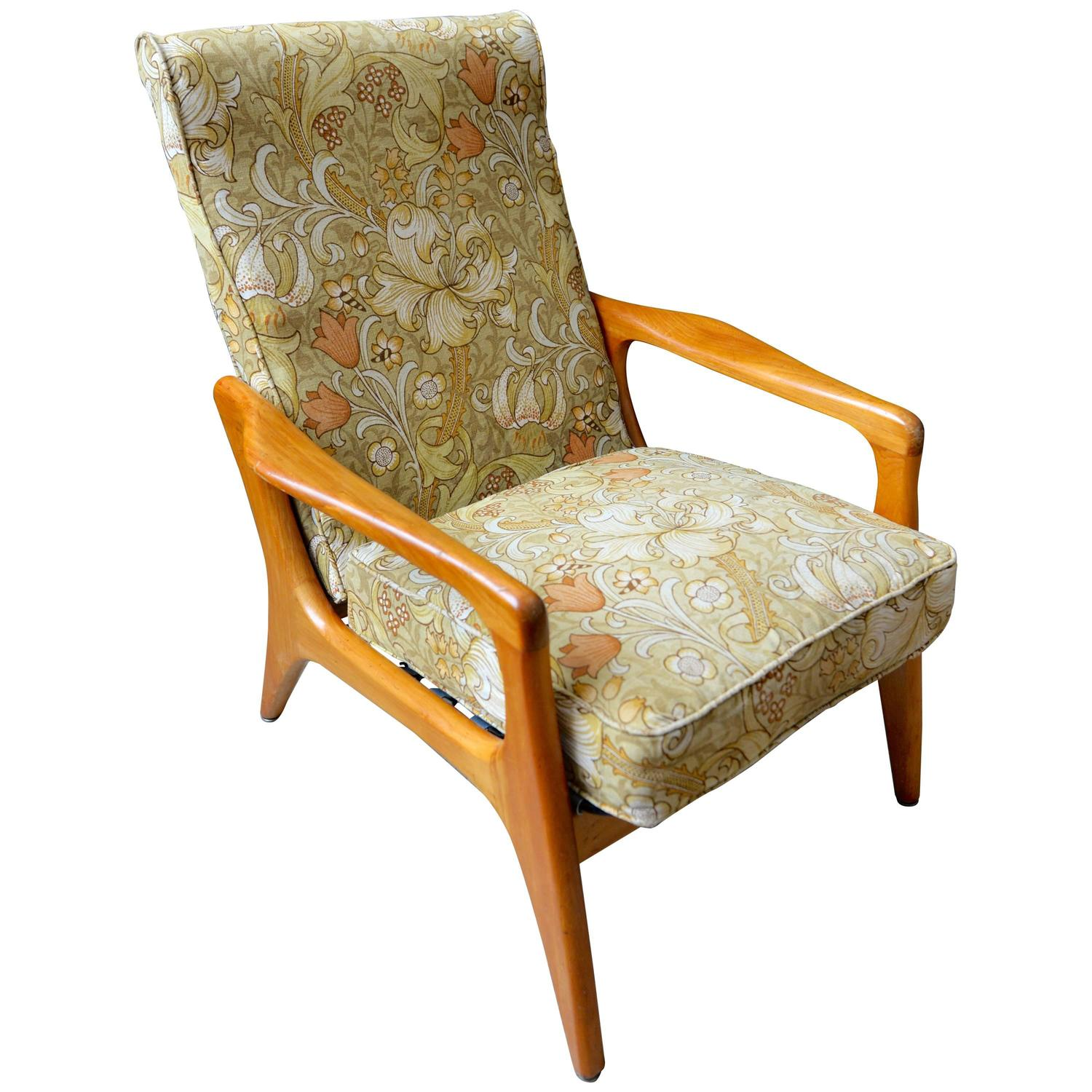 1960s Danish Lounge Chair Upholstered In William Morris