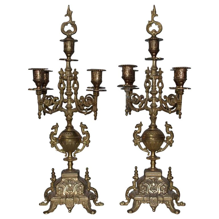 20th Century Pair of Brass Candleholders