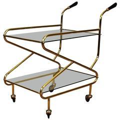 1950s Bar Cart, solid brass, original glasses - France