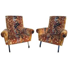 Pair of Original Italian Mid-Century Armchairs with Iconic J. Larsen Fabric