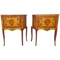 Pair of Marble Top Inlaid Satinwood French Side Tables, circa 1930