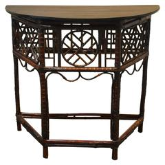 Chinese Bamboo Demilune Table