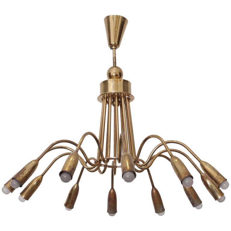 Huge Brass Sputnik Twelve-Light Chandelier