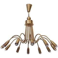 Huge Brass Sputnik Twelve-Light Chandelier